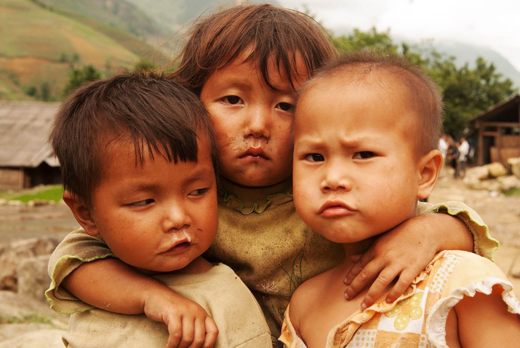 Three of the strongest children I've ever come across - outside Sapa, Vietnam