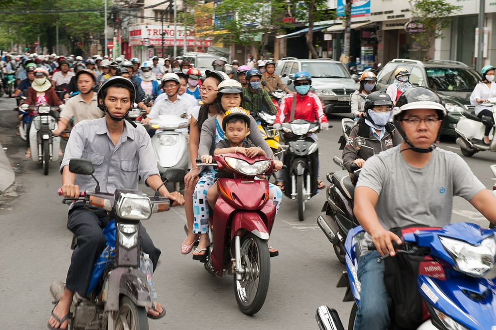 Onslaught of mopeds in Ho Chi Minh City, Vietnam