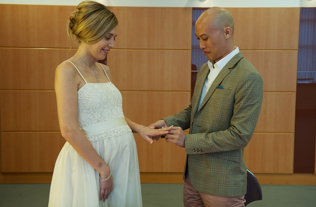 Teddy presenting Jessica with her beautiful diamond ring