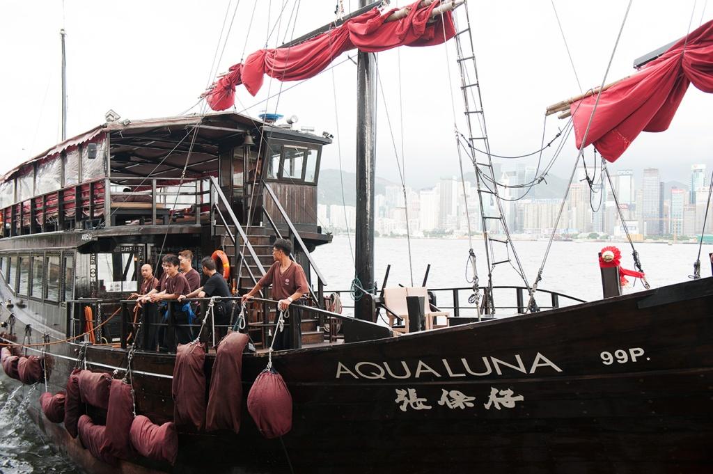 Aqua Luna, a traditional Chinese 'junk' boat
