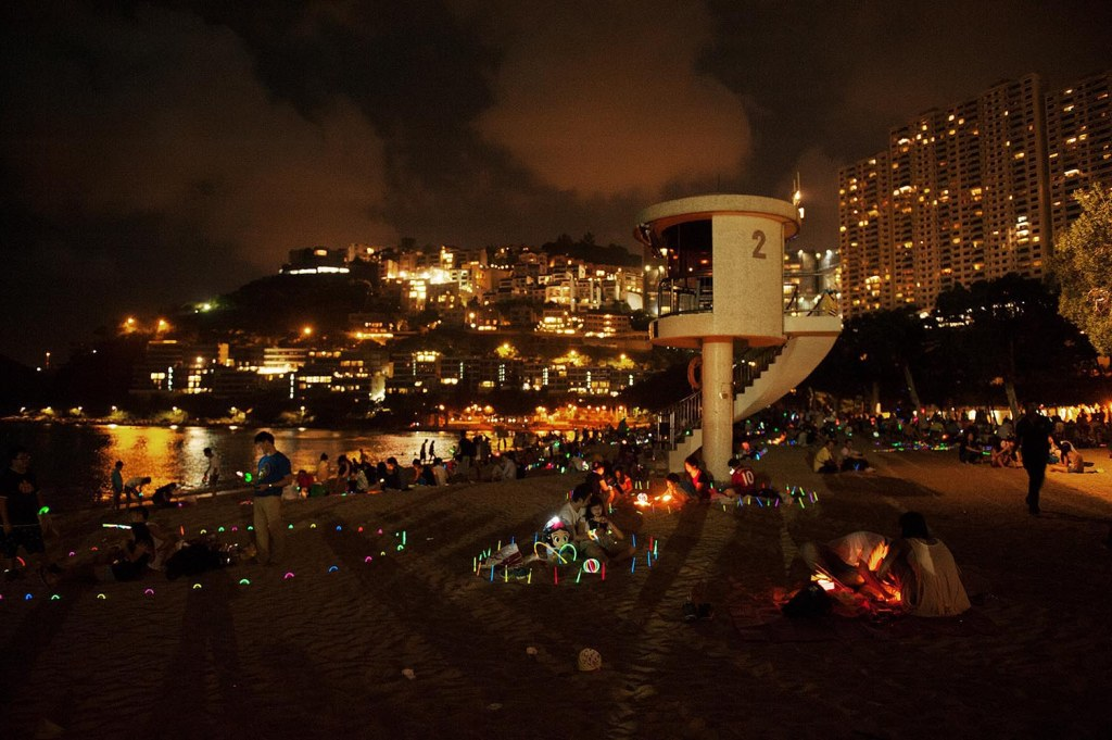 A contemporary interpretation of lantern festival on the beach at Repulse Bay