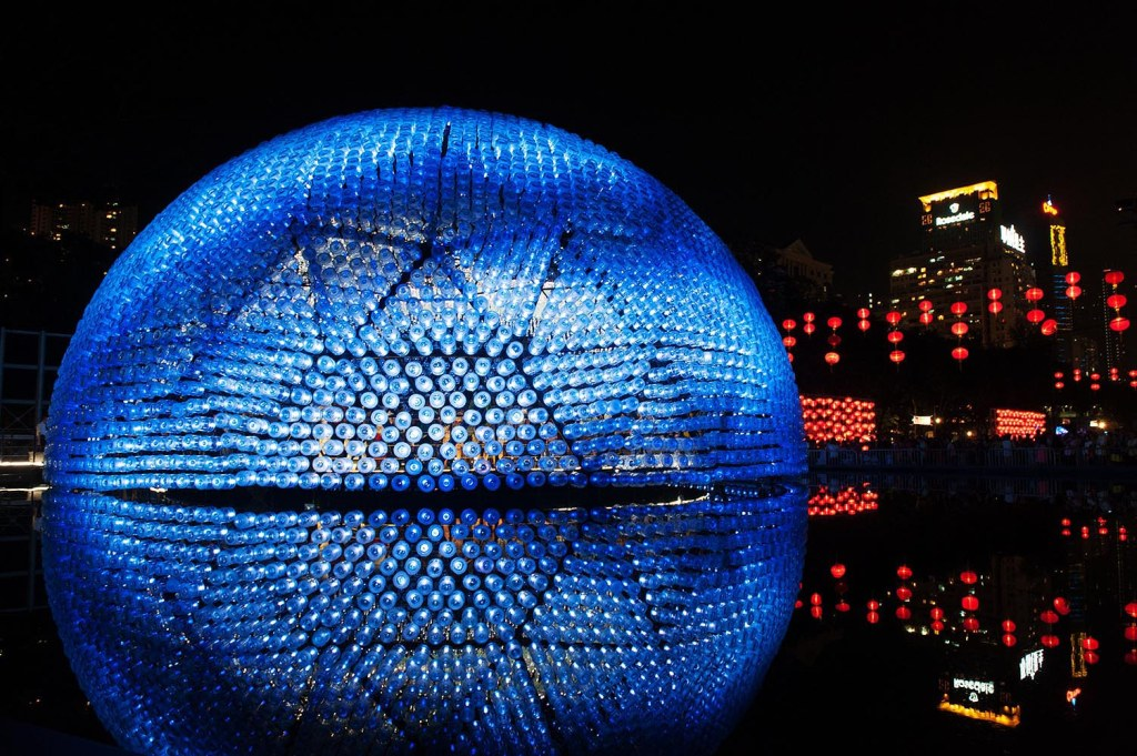 'Rising Moon' recycled water bottle and LED installation at Victoria Park