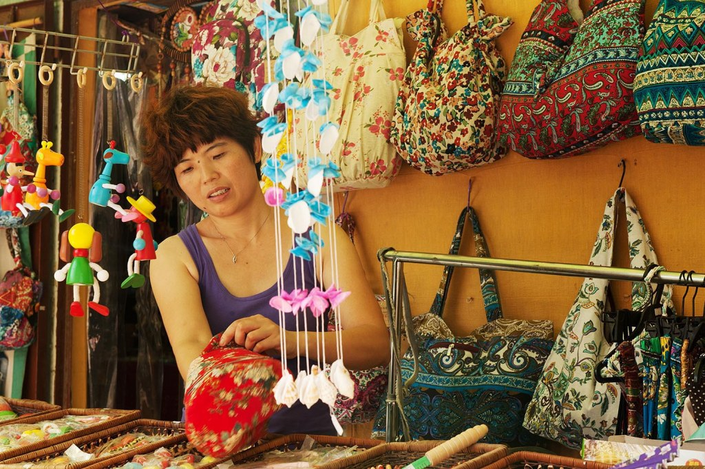 Local boutique owner selling goods on Yung Shue Wan