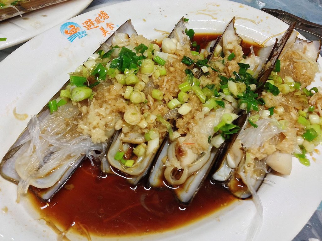 Bamboo clams with scallions, garlic, and glass noodles