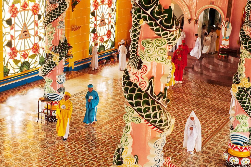 Procession of leaders at Cao Dai Holy See temple