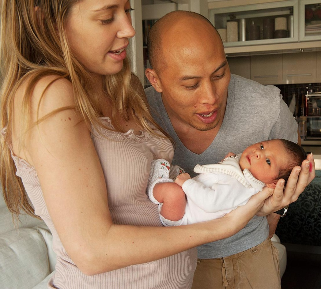 Proud new parents, Jessica and Teddy, doting on baby Juliette