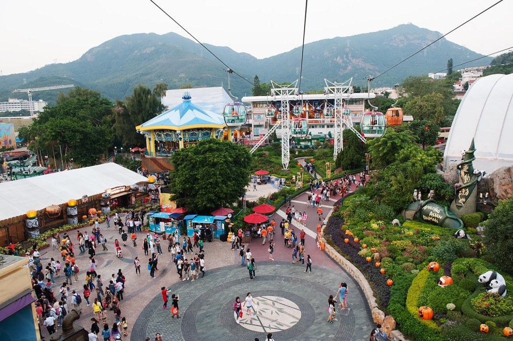 Ocean Park, festooned for Halloween, from the cable car