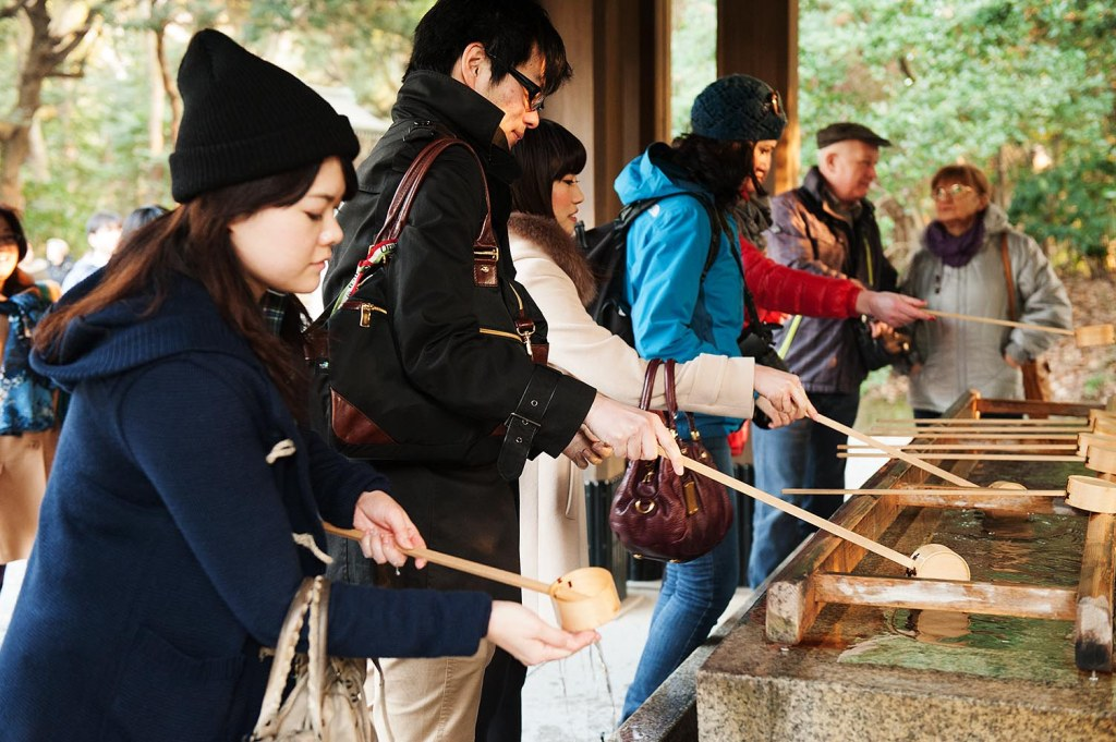 Purifying by water, at Meiji Shrine