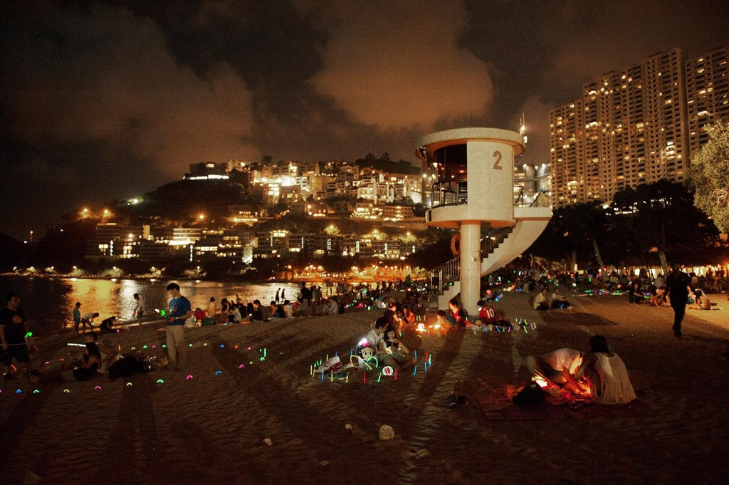 Repulse Bay Beach lights up during the Mid-Autumn Lunar Festival