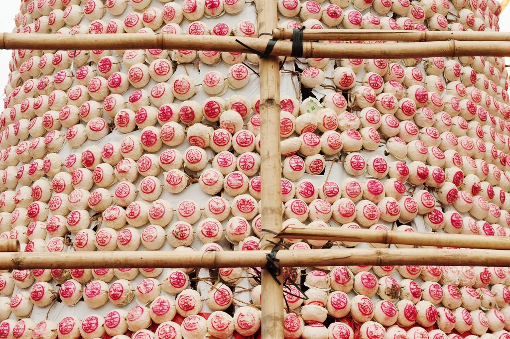 'Lucky' buns affixed to a tower at the Cheng Chau Bun Festival