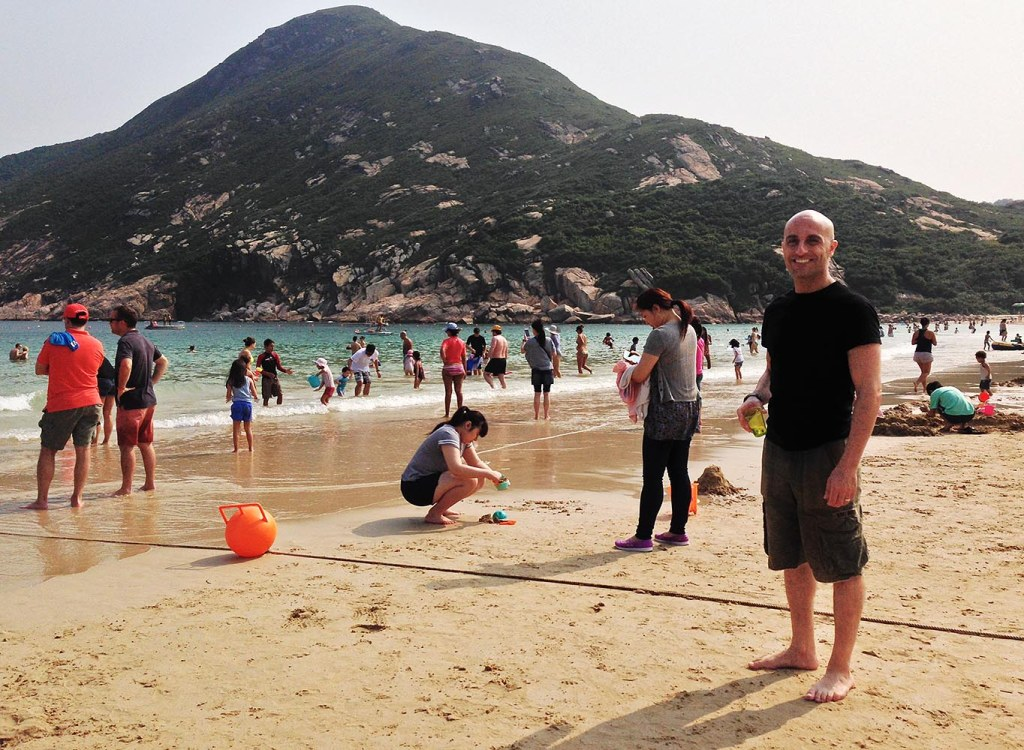 Mark gets a little sand in his toes on Shek O Beach