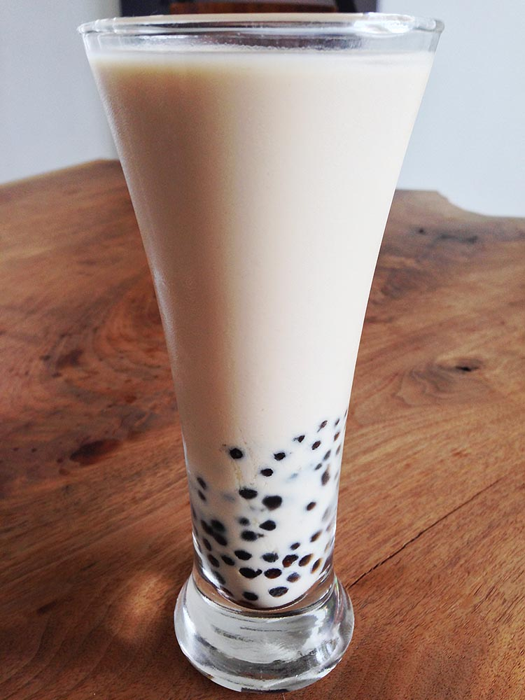 Classic milk tea with black tapioca 'pearls', from Taiwanese chain, Come Buy
