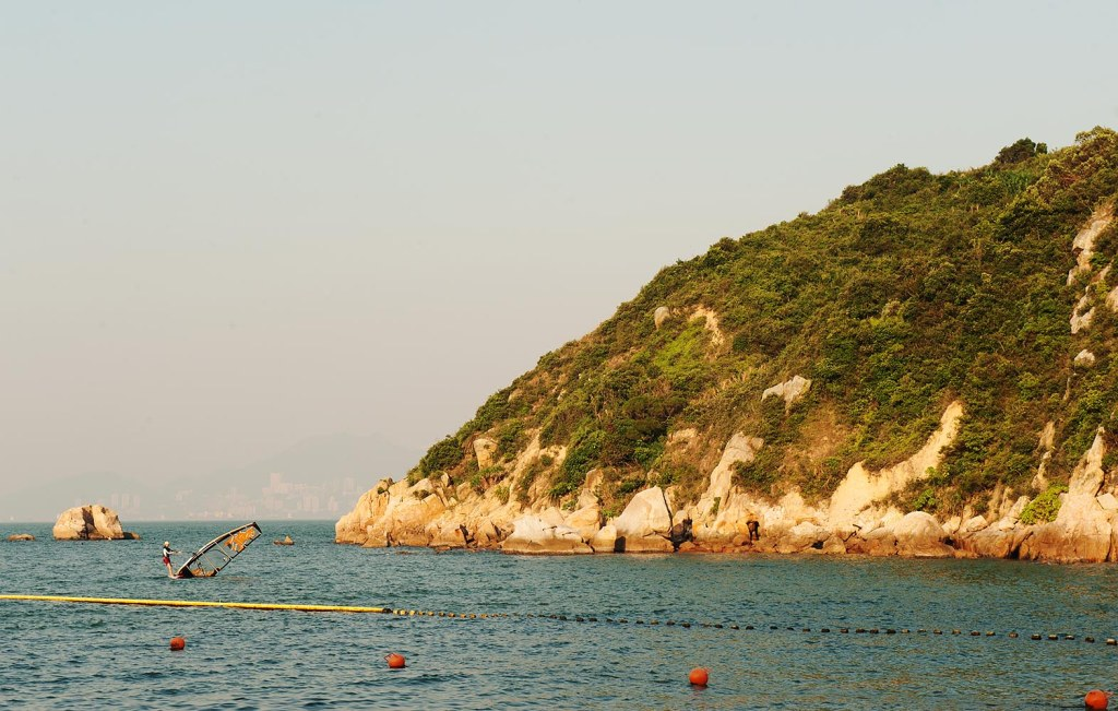 Windsurfing off the coast of Cheung Chau