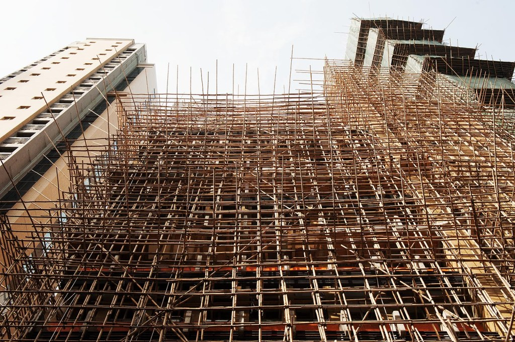 The ubiquitous, intricate, hand-tied bamboo scaffolding in HK - that still makes me nervous for workers