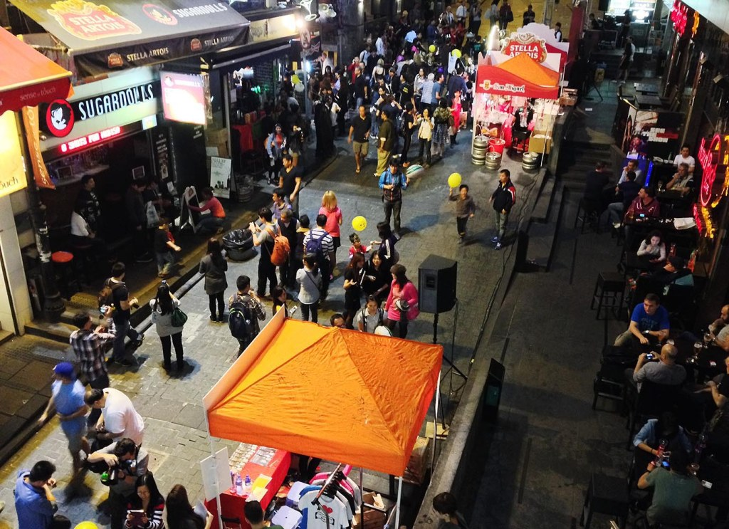 Infamous Lan Kwai Fong (LKF) - unofficially the district of drinking and debauchery in HK