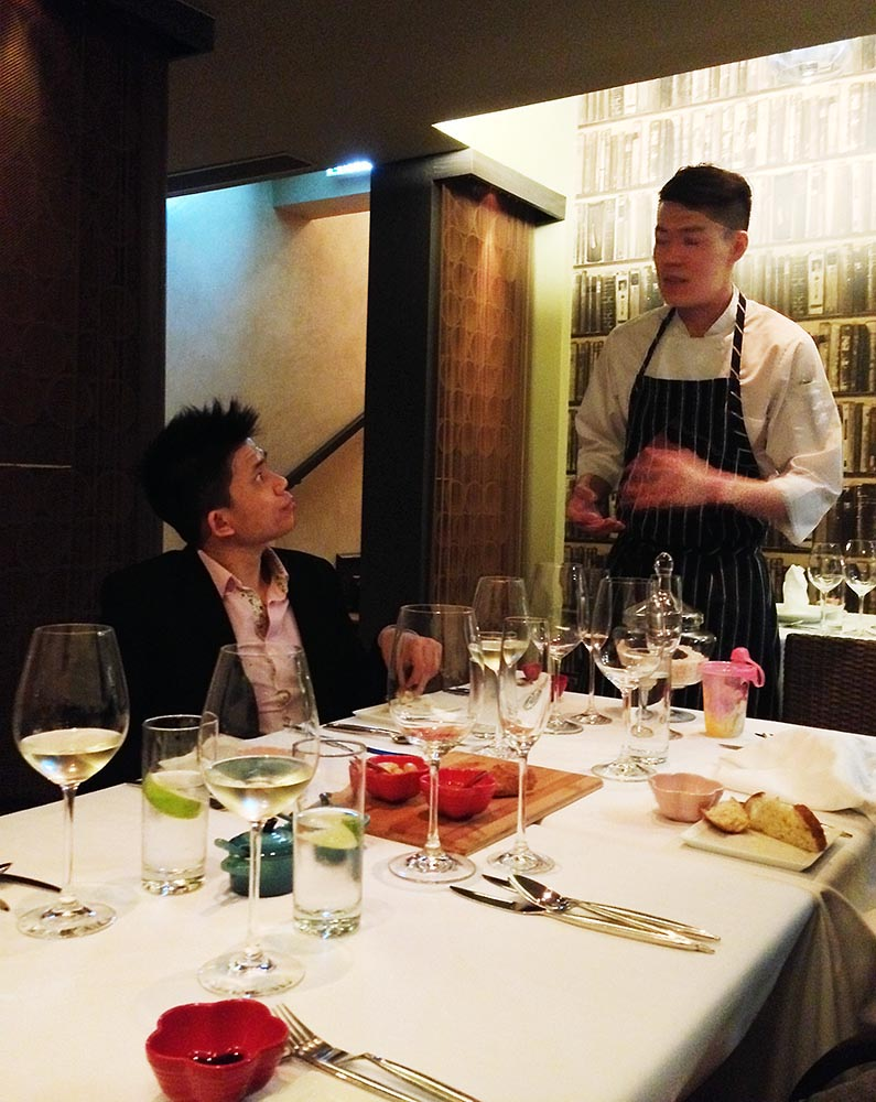Ben, chatting with chef Eddy, at Italian-inspired G7 Private Dining
