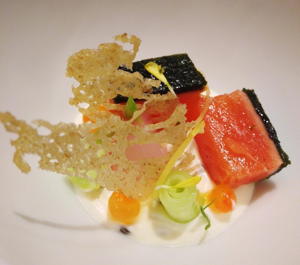 Melt-in-your-mouth marinated salmon with herb crust and caviar cream - at Wagyu Takumi