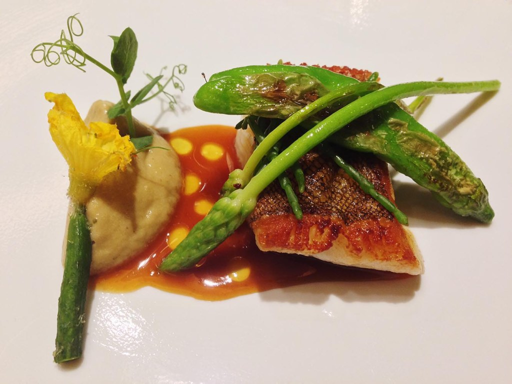 Pan-fried Japanese greenling with summer vegetables and eggplant puree, and scallop jus - the epitome of fresh, clean taste