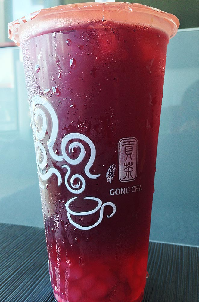 Sweet-and-sour roselle 'bubble tea', with clear tapioca 'pearls' at the bottom (weird - yes, tasty - absolutely!)