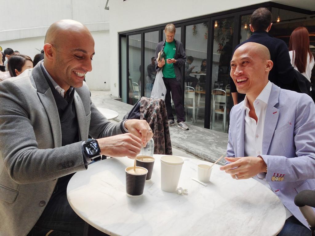 Mark and Teddy caffeinate at Café Deadend