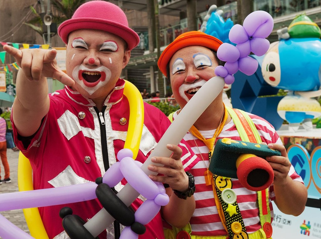 Clowning around at the Dragon Boat Festival in Victoria Harbour
