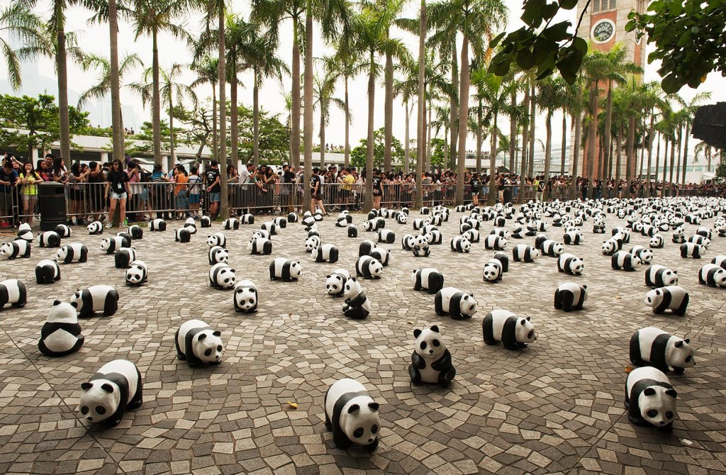 '1600 Pandas' near the Tsim Sha Tsui promenade in Kowloon, before moving on to various sites on HK's main island and being sold to raise $ for conservation efforts