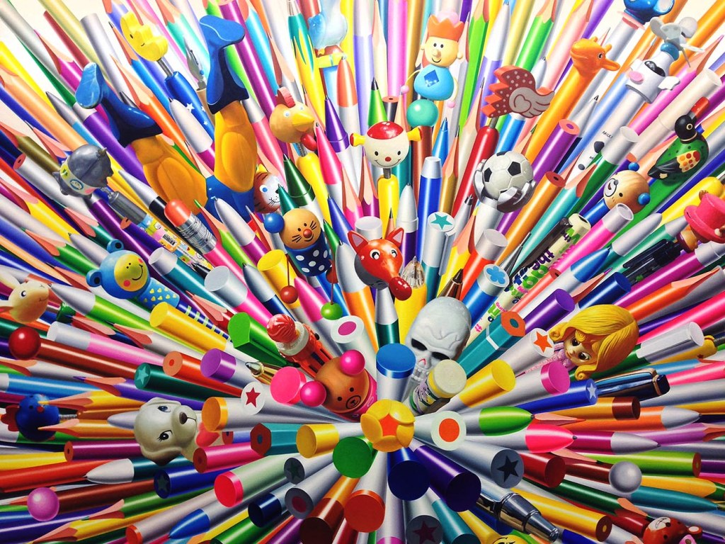 The simply named but intensely colored 'Pens' by artist Kyoung Tack Hong