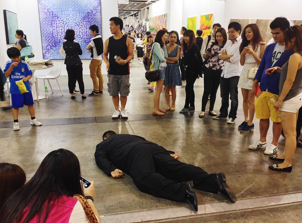 Perhaps the most-talked-and-walked-about 'sculpture' at Art Basel - He Xiangyu's 'death-like' figure, 'The Death of Marat' (and don't worry - while almost impossible to tell, it's actually fiberglass)