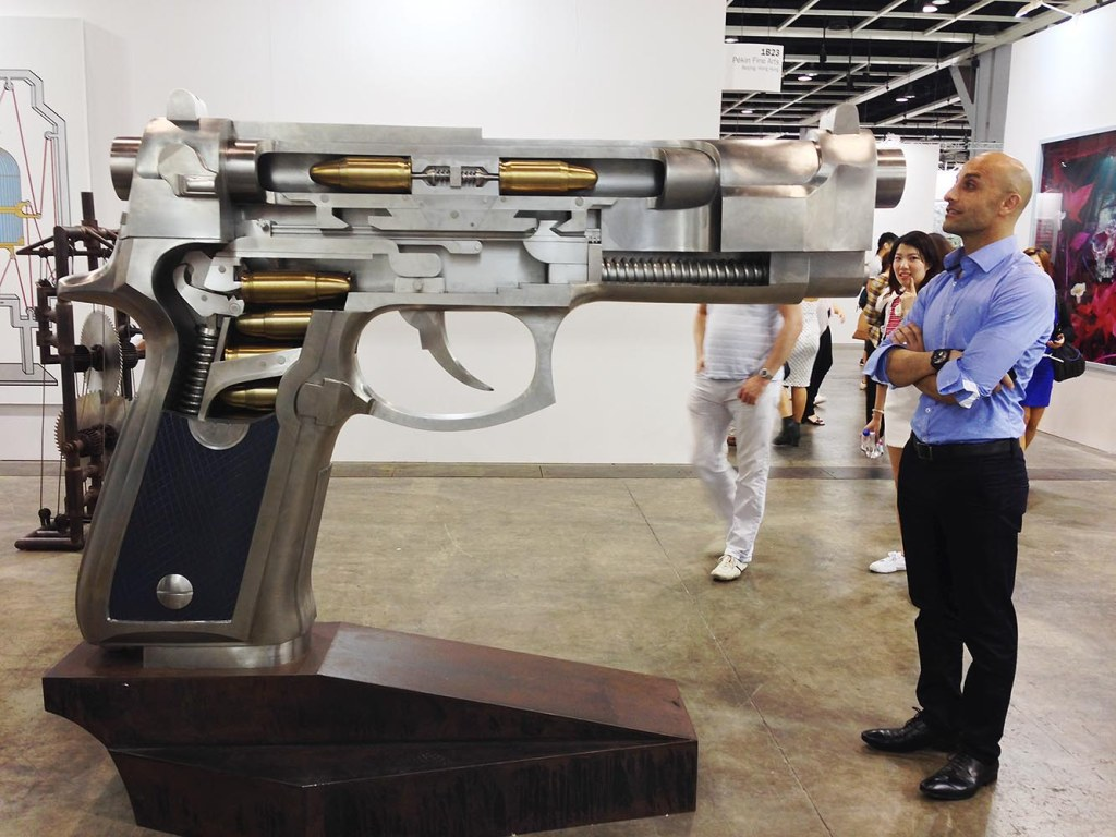 Especially in the US right now, guns are no joke - but there is something fascinating about seeing the cross-section of a larger-than-life replica (that poses no danger)