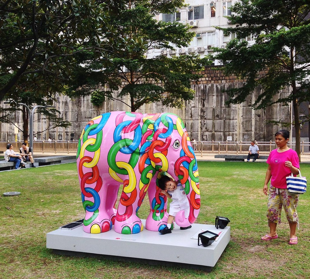 A particularly pink member of the Elephant Parade that made its way through HK - raising awareness of the need to protect these gentle giants (pictured here outside One Island East)