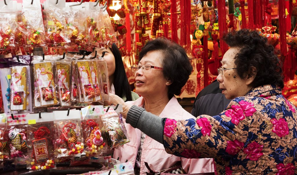Carefully selecting red-tinged CNY goodies (for good fortune, of course!)