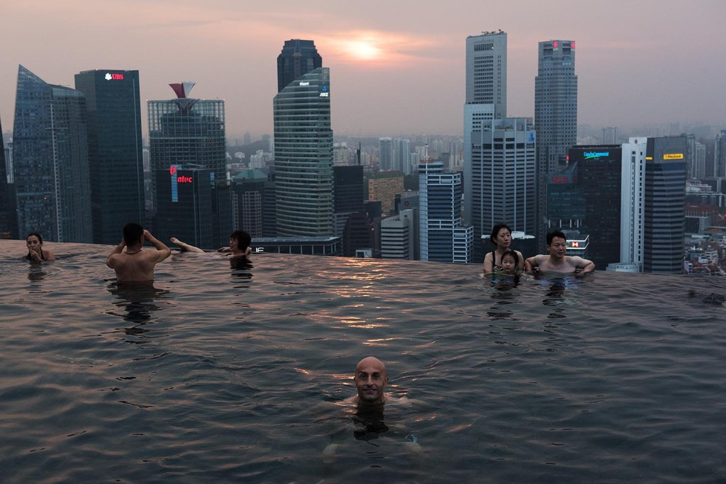 Mark enjoys a sunset swim in the glorious infinity pool atop Marina Bay Sands