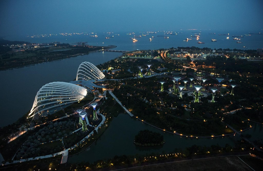 Singapore at its visual best, as dusk falls over Marina Bay and Gardens by the Bay