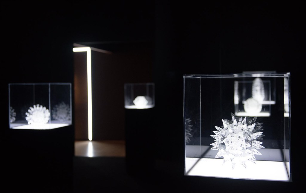 Satellite exhibit of Luke Jerram's Glass Microbiology sculptures, at the ArtScience Museum - a contemplation of the fascinating structures of potentially dangerous viruses that infect and cause disease in humans