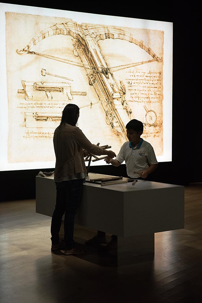 An interactive exhibit inside 'da Vinci: Shaping the Future' at the ArtScience Museum