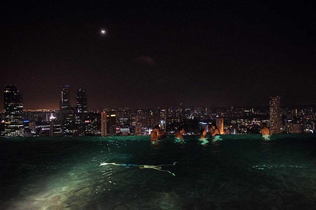 Pure bliss - swimming by moonlight in Marina Bay Sands' rooftop infinity pool, with cocktails just a few meters away