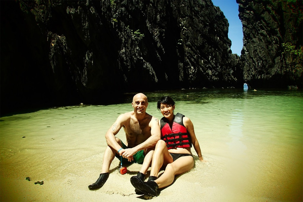 Mark and me, in our sexy reef booties on Secret Beach (trust me, you need them)