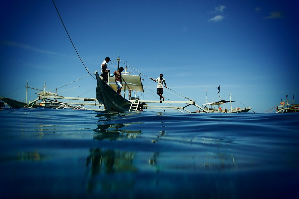 Our bangka boat crew, as viewed from the water