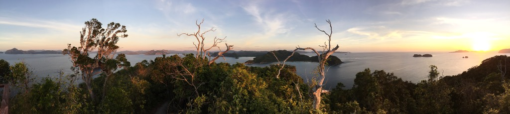 Panoramic sunset views at the top of Pangulasian Island