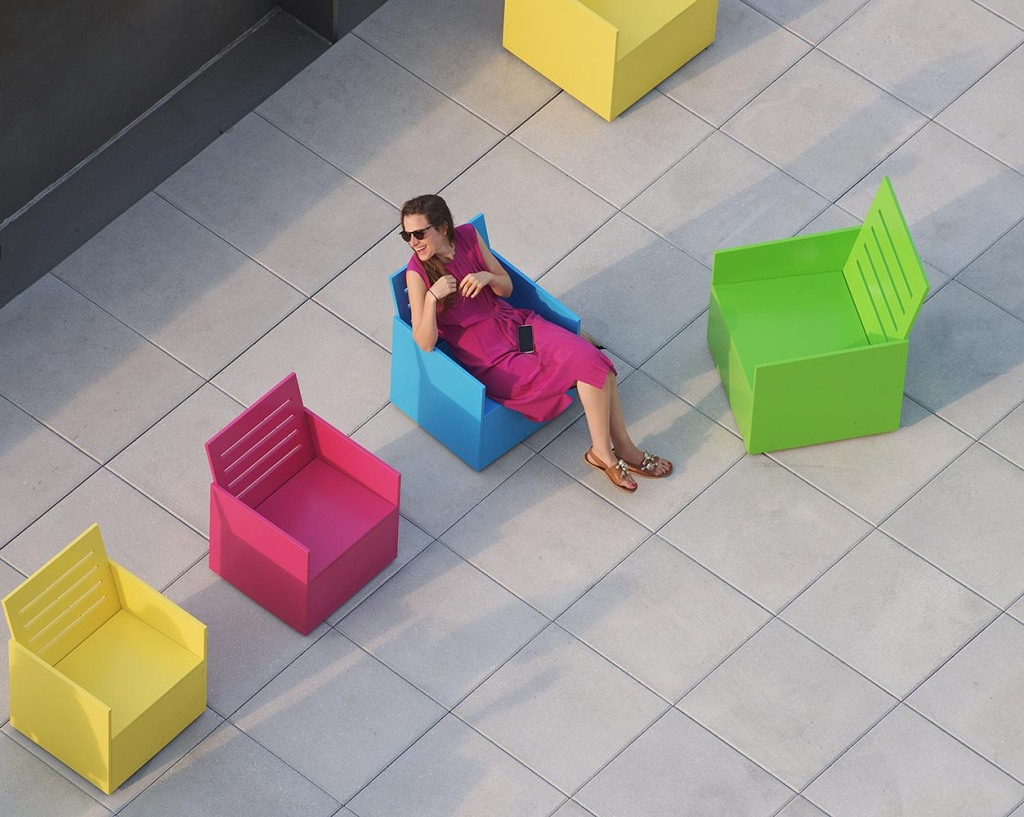 Mary Heilmann's interactive Sunset chairs in the new Whitney's largest outdoor exhibit space