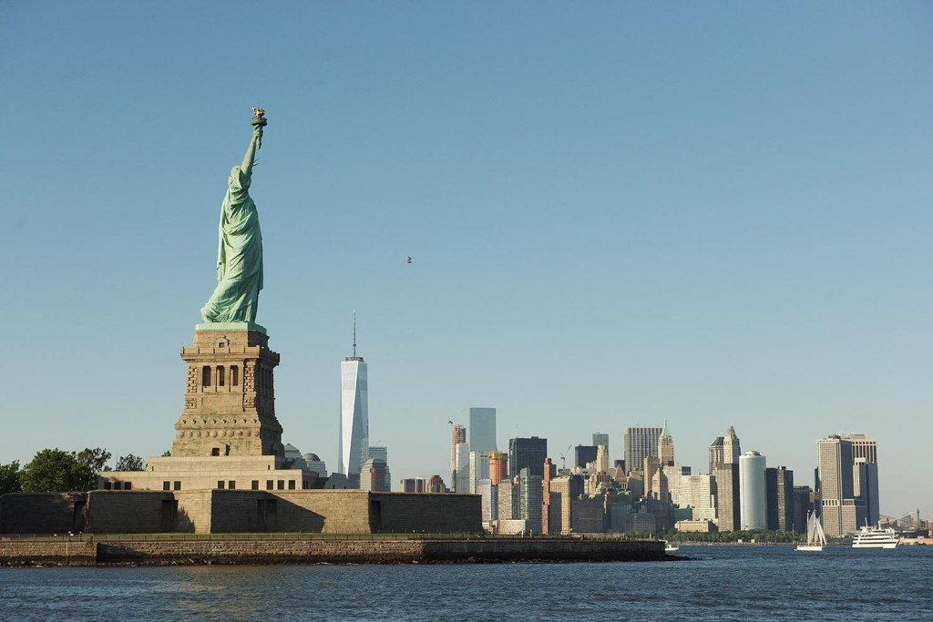 Images of freedom - the Statue of Liberty and 1 World Trade Center (informally known as the Freedom Tower)