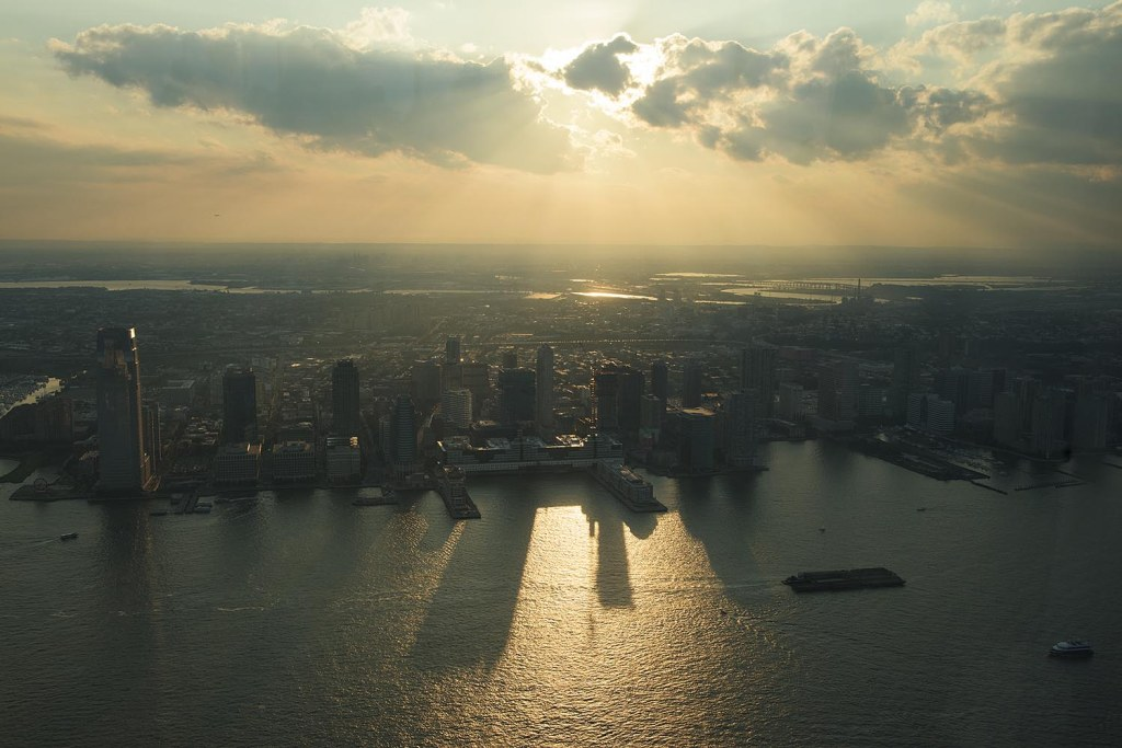 Sunset over Jersey City, as viewed from the One World Observatory