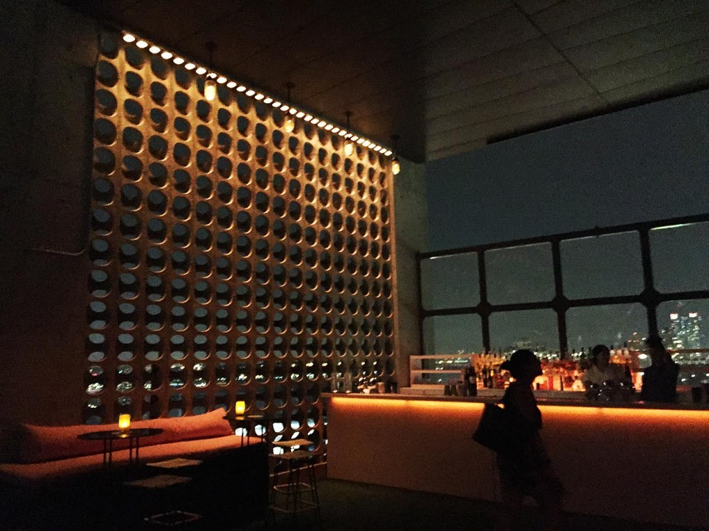The open-air lounge at the Le Bain rooftop