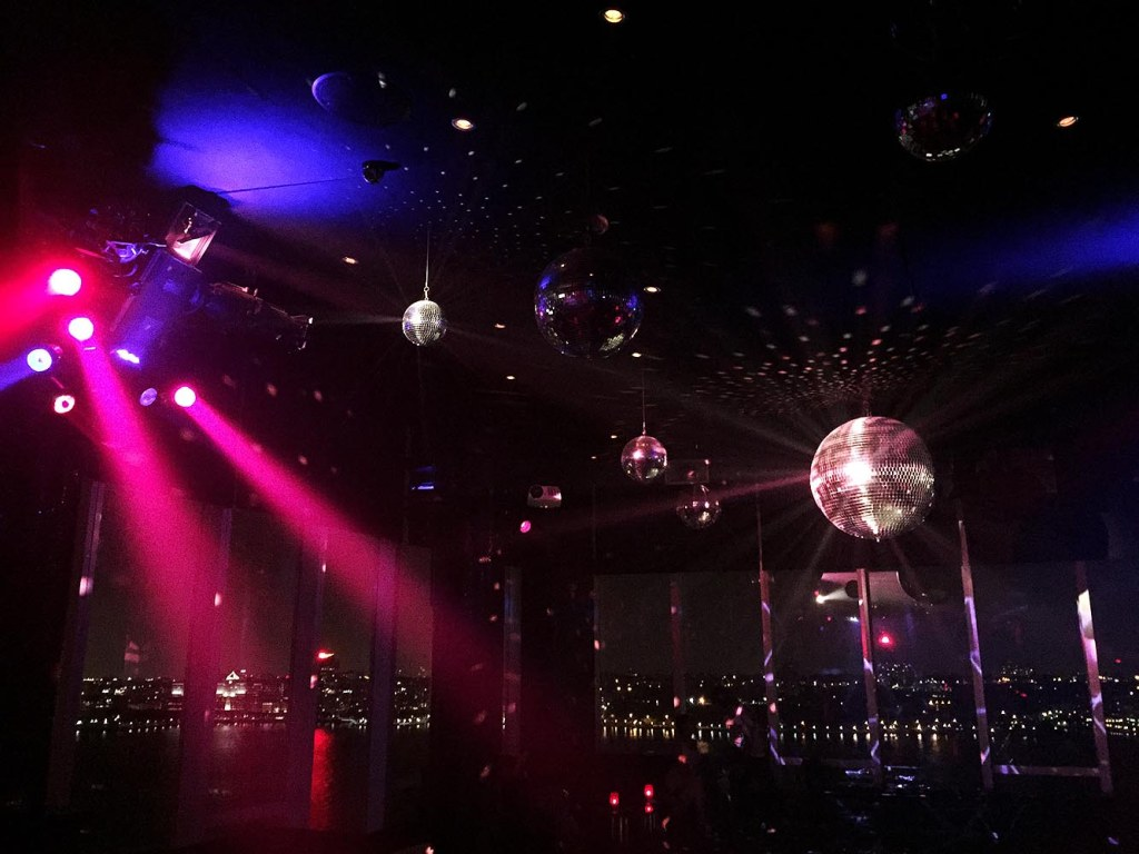 Disco lights inside Le Bain