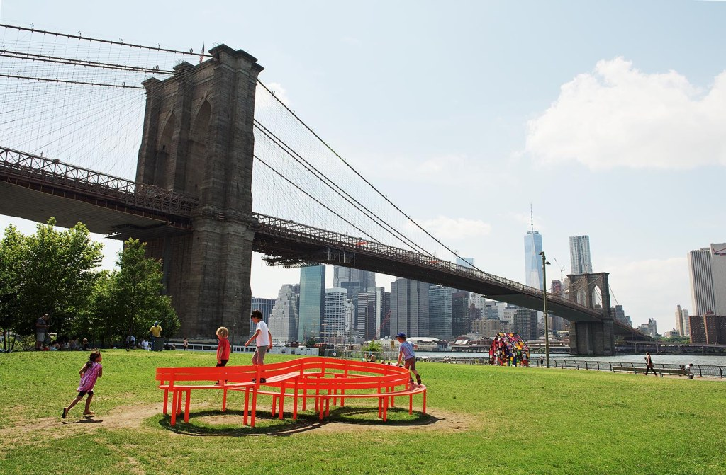 Brooklyn Bridge Park, one of BK's finest green spots, with fantastic views of the iconic bridge and the east Manhattan skyline