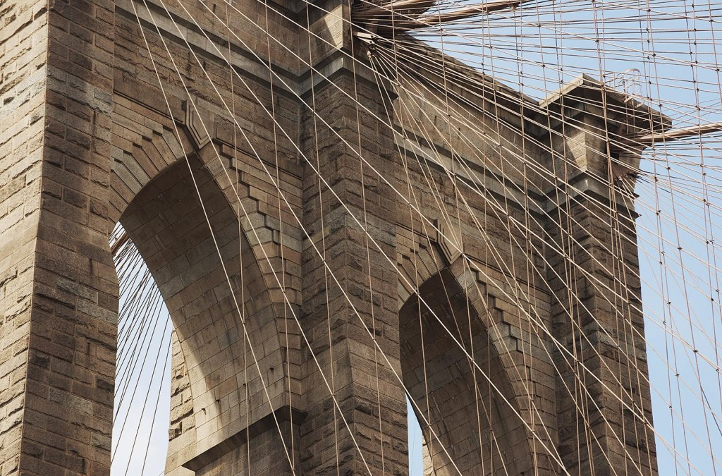 The landmark Brooklyn Bridge