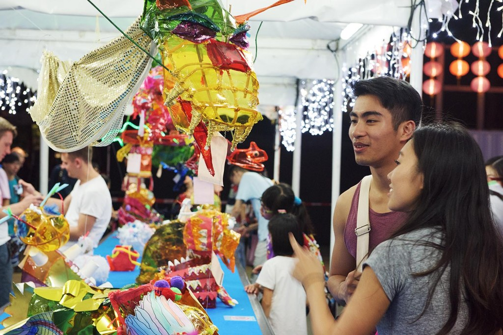Checking out some handmade lanterns at the Lantern Festival