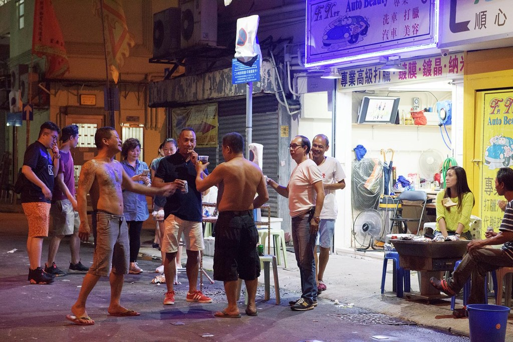 Post-dance beers in the alleys of Tai Hang