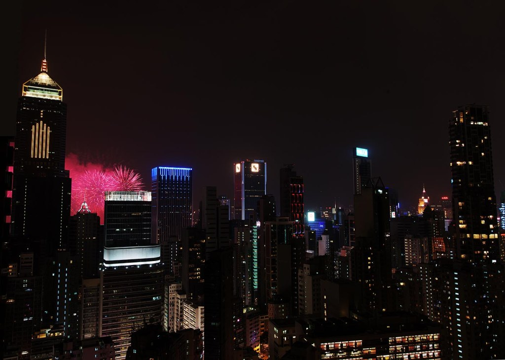 Fireworks over Wan Chai in Hong Kong on China's National Day