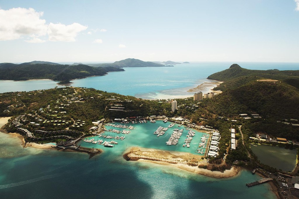 View of Hamilton Island from our helicopter en route to Hayman Island